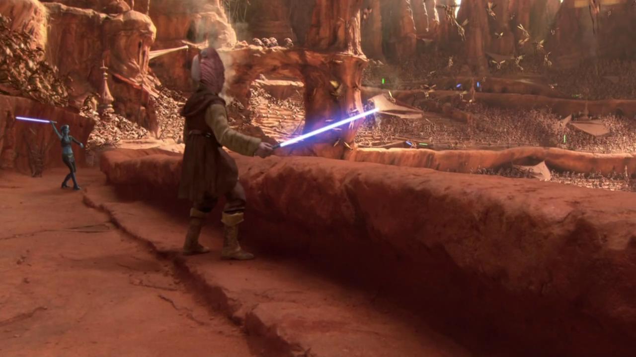动画 电影 绝地武士/能从动画或者电影中看出绝地武士用的剑法吗?