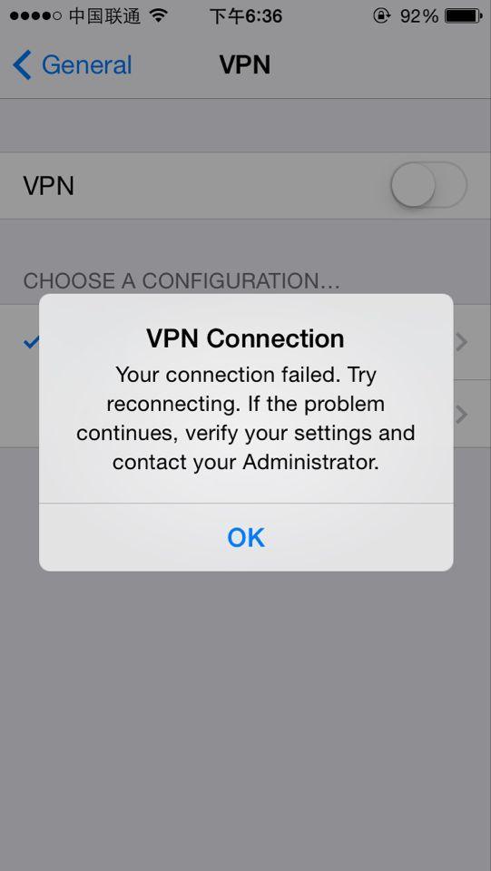 在联通3G情况下可以连接VPN(PPTP),但是在WIFI情况下连接不上.