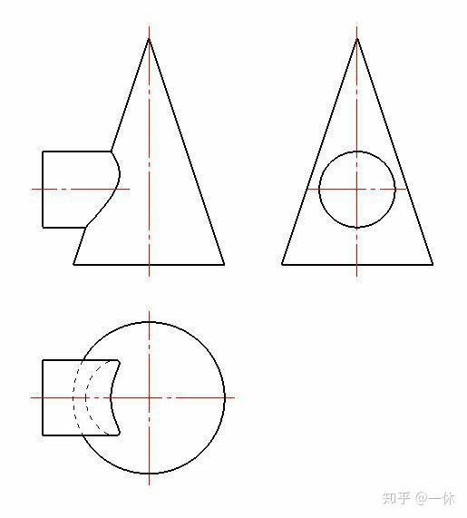 圆柱和圆锥相贯,这个要怎么画? - 知乎