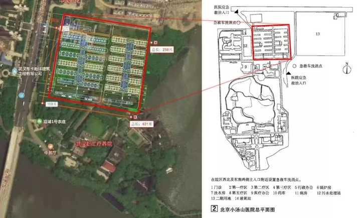 武汉职工疗养院的北侧被放置了一个平面图,这个平面就是北京小汤山图片