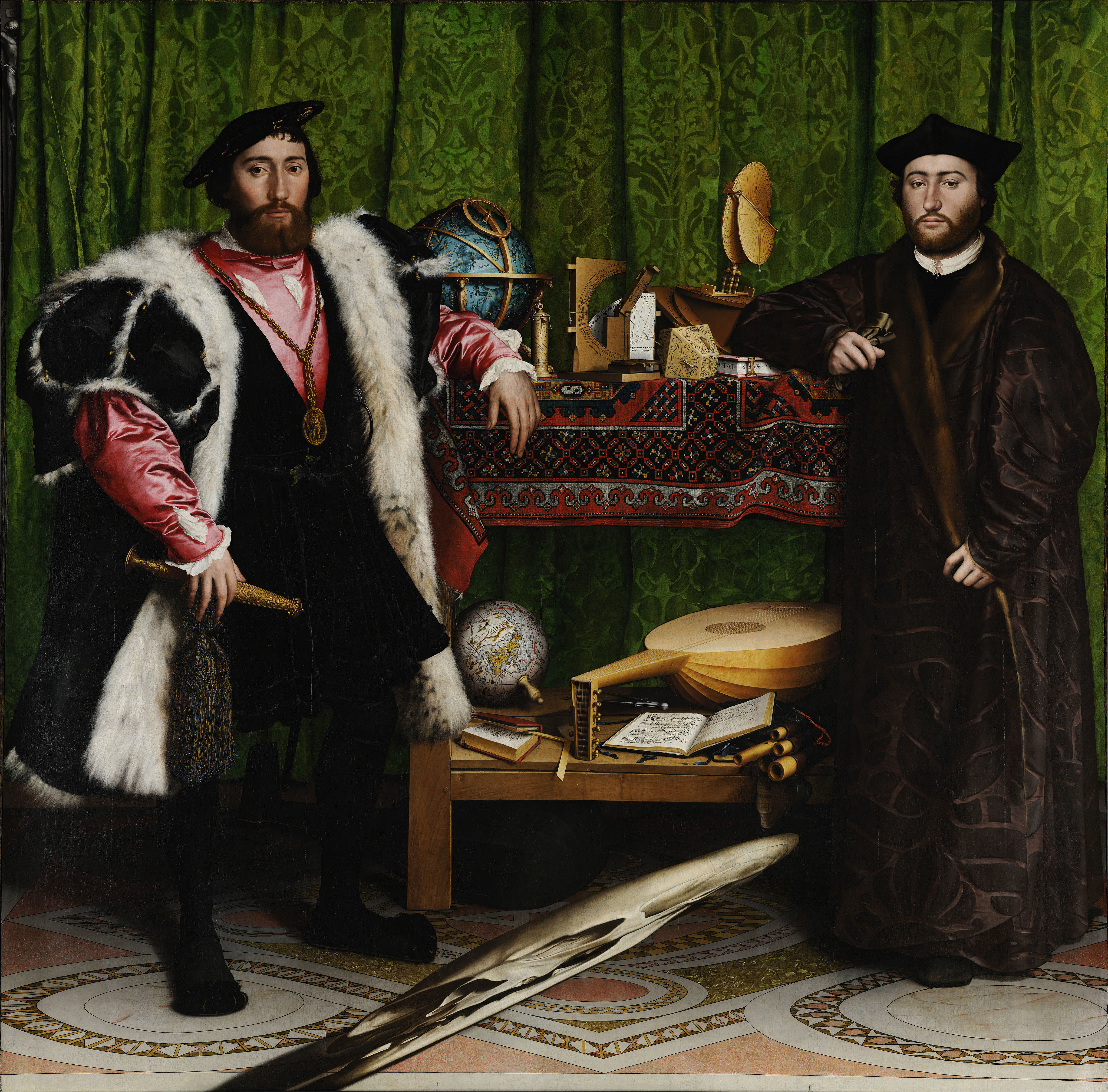 谷哥 故事 霍尔/油画《大使们》寓意何在?尤其是那个扭曲的头骨又是何含意?...