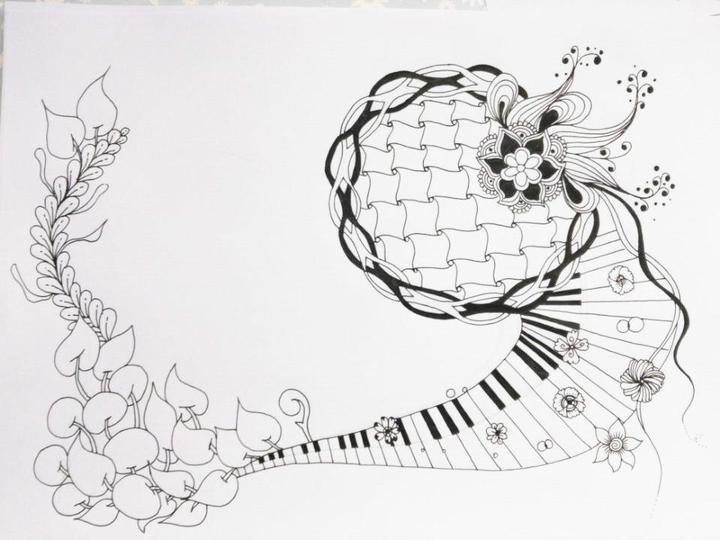 零基础入门禅绕画——钢琴物语