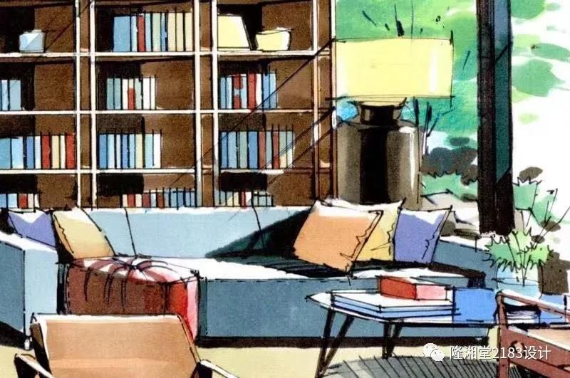 手绘的温暖书房