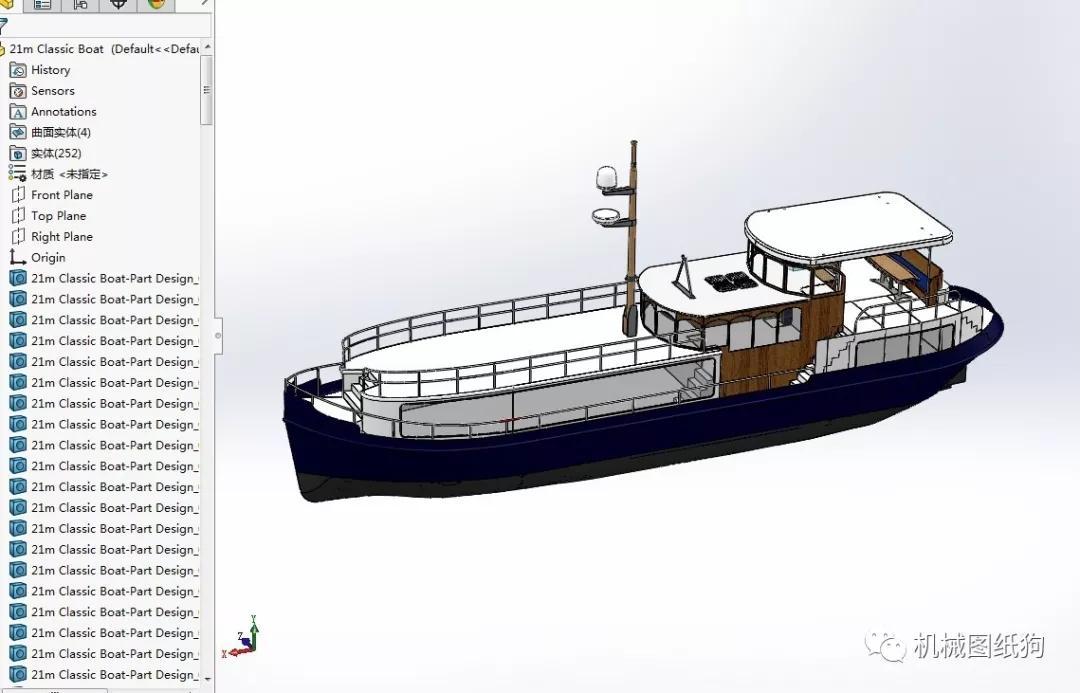 米报告简易船模型3D经典Solidworks设计图纸内河设计电子琴图片