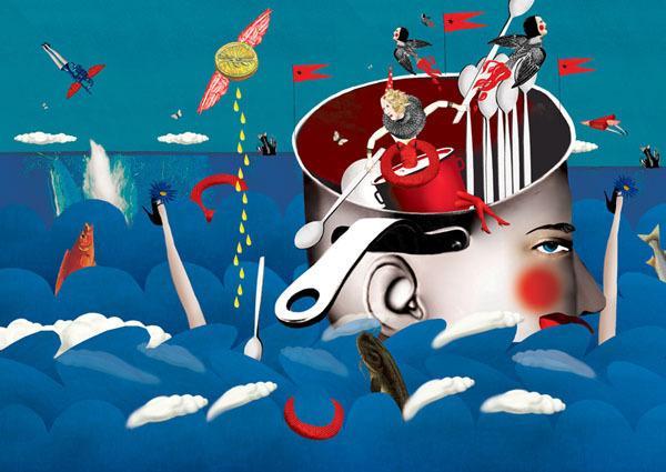 电脑拼贴插画成为插画风格中,较为流行的一种,此类风格与平面设计有图片