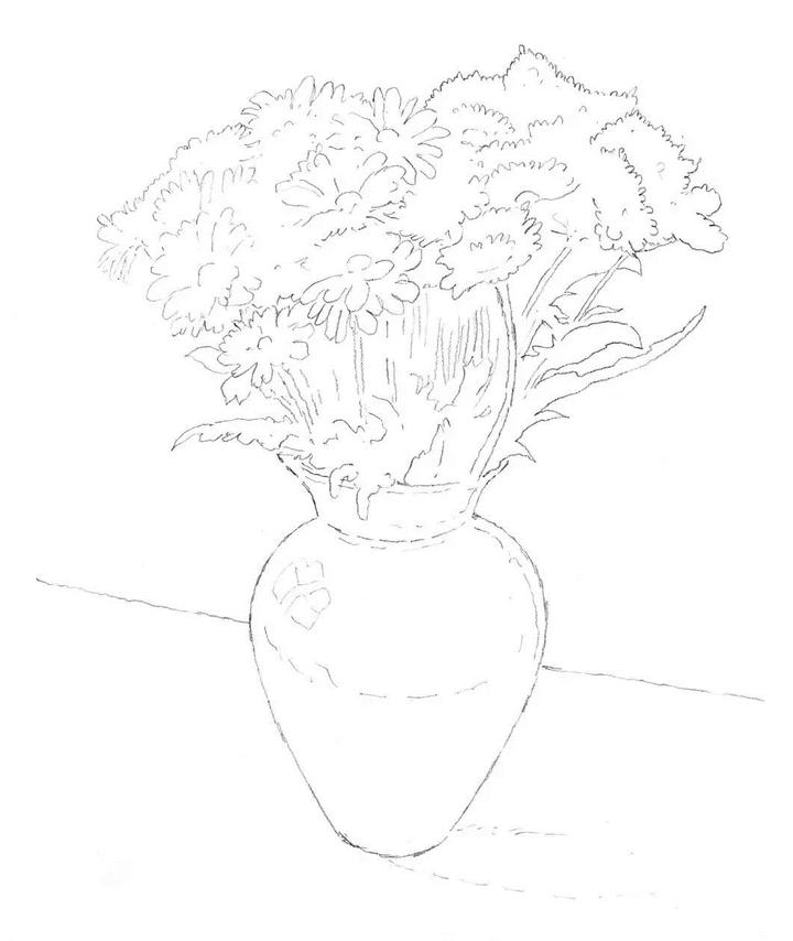 花瓶简笔画素描