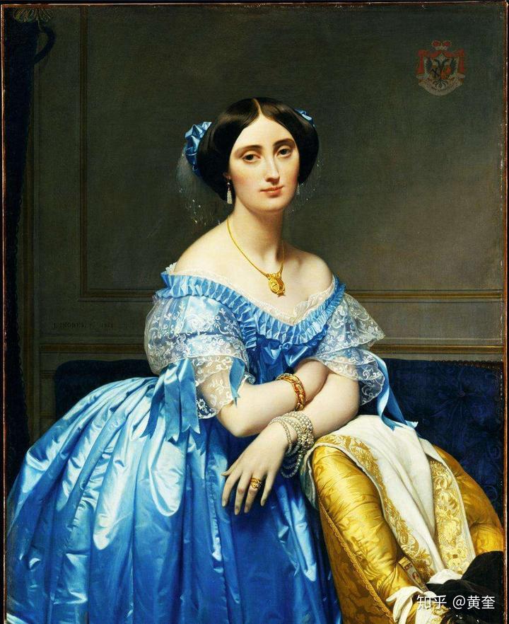 《勃罗日里公爵夫人像/布罗格利公主》安格尔,1853年,法国,布面油画图片