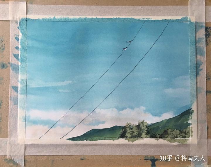 【零基础水彩风景教程】手绘水彩天空