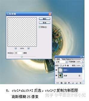 按ctrl+j复制到新的图层执行:滤镜模糊高斯模糊数值为5.