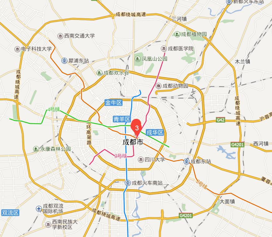住:推荐住在春熙路商圈附近,春熙路位于成都的市中心(地图标红处为春熙路).图片