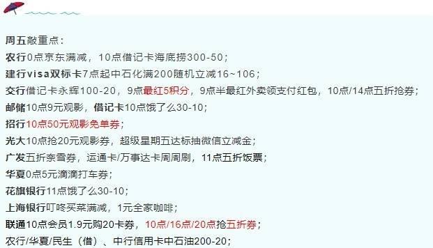 8月6日周五-邮储9元观影、招行观影免单券、联通五折券等!