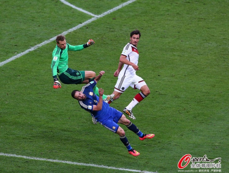 2014世界杯决赛中下半场诺伊尔和伊瓜因在禁