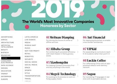 《快公司》杂志评选出的中国最佳创新公司十强名单部分截图