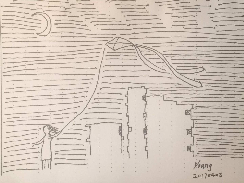 夜空里的风筝