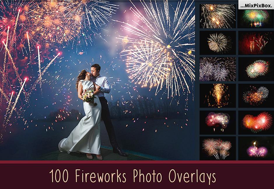 【S394】100+高清烟花烟火叠加合成前景素材 fireworks photo overlays