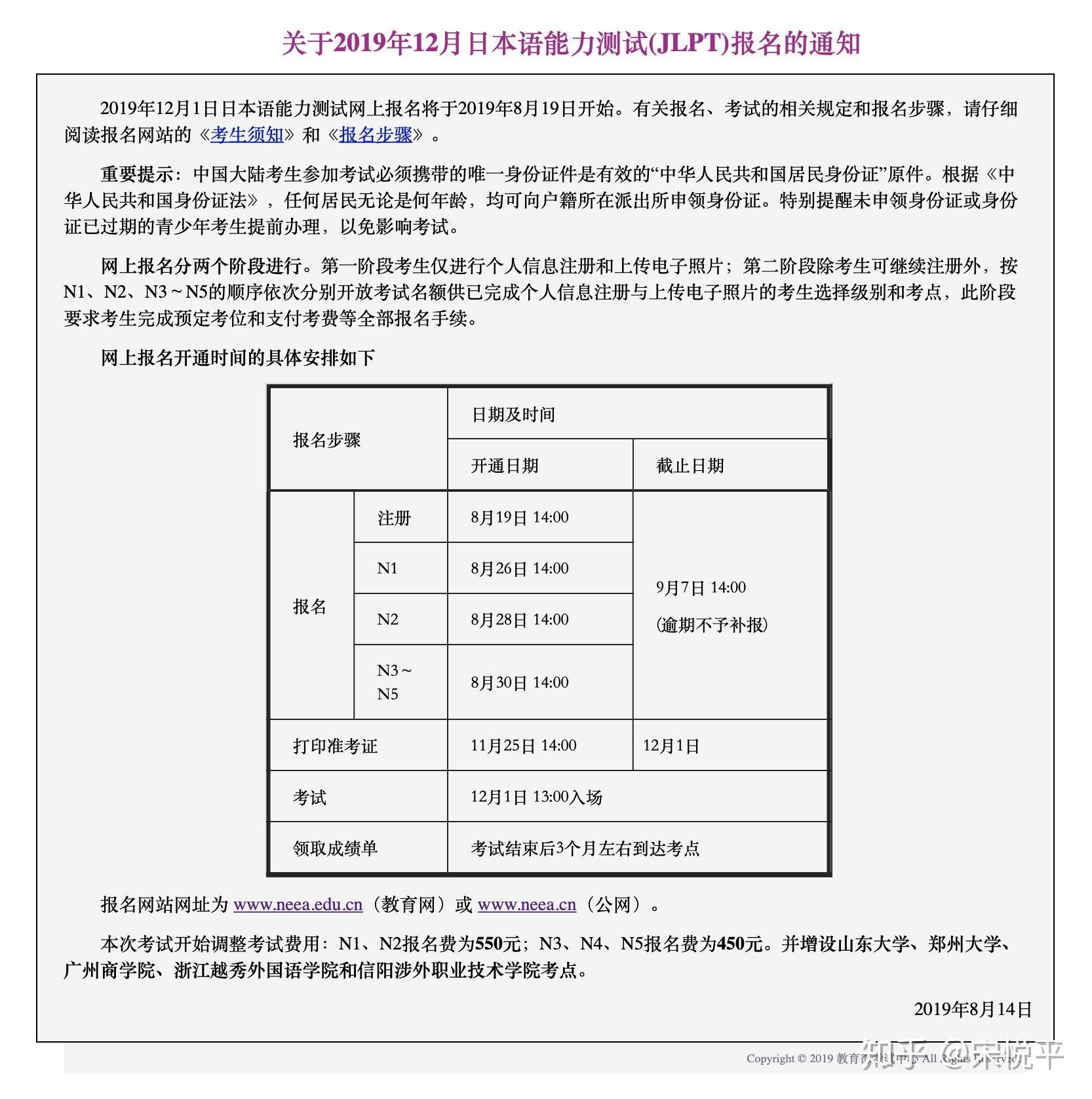 日语能力考报名费用_必看!2019年12月日语能力考试将开始注册,N1N2考试涨价! - 知乎