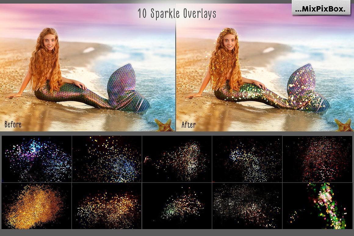 【S499】36张叠加素材 美人鱼鱼尾、火花与五角星