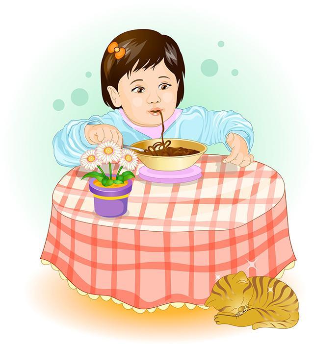 Картинка обедающего мальчика