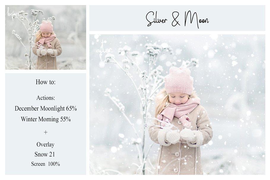 【S476】 梦幻冬季高清雪花冬季纹理叠加合成前景素材,附调色和特效动作ATN