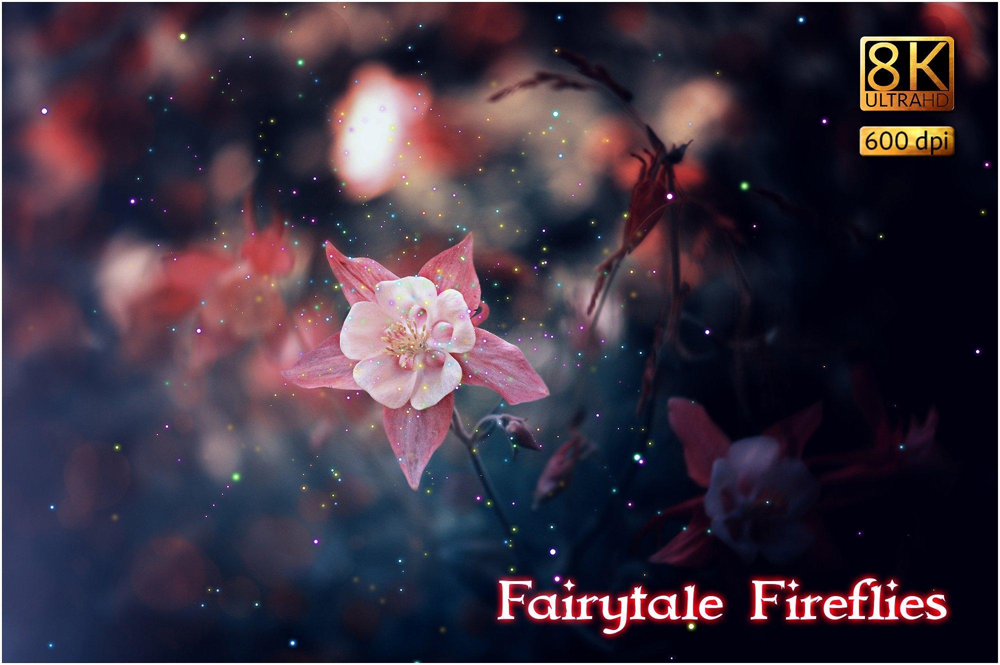 【S398】8K超高清童话萤火虫覆叠加图层样式30p 8K Fairytale Fireflies Overlays